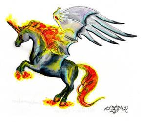 Amalgumation Horse Unicorn Nightmare Pegasus Pony by StephanieSmall