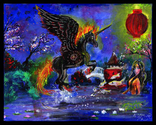 Lantern Nightmare Zen Woman Girl Fishes Blue Red by StephanieSmall