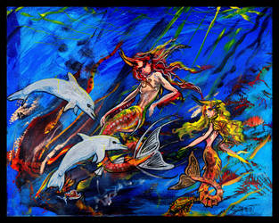 Exotic Tropical Mermaids Fishes Dolphins Coral Sea by StephanieSmall