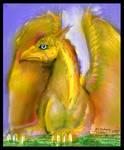 Shedar Gryphon Gold Griffon Yellow Eagle Lion Cat by StephanieSmall