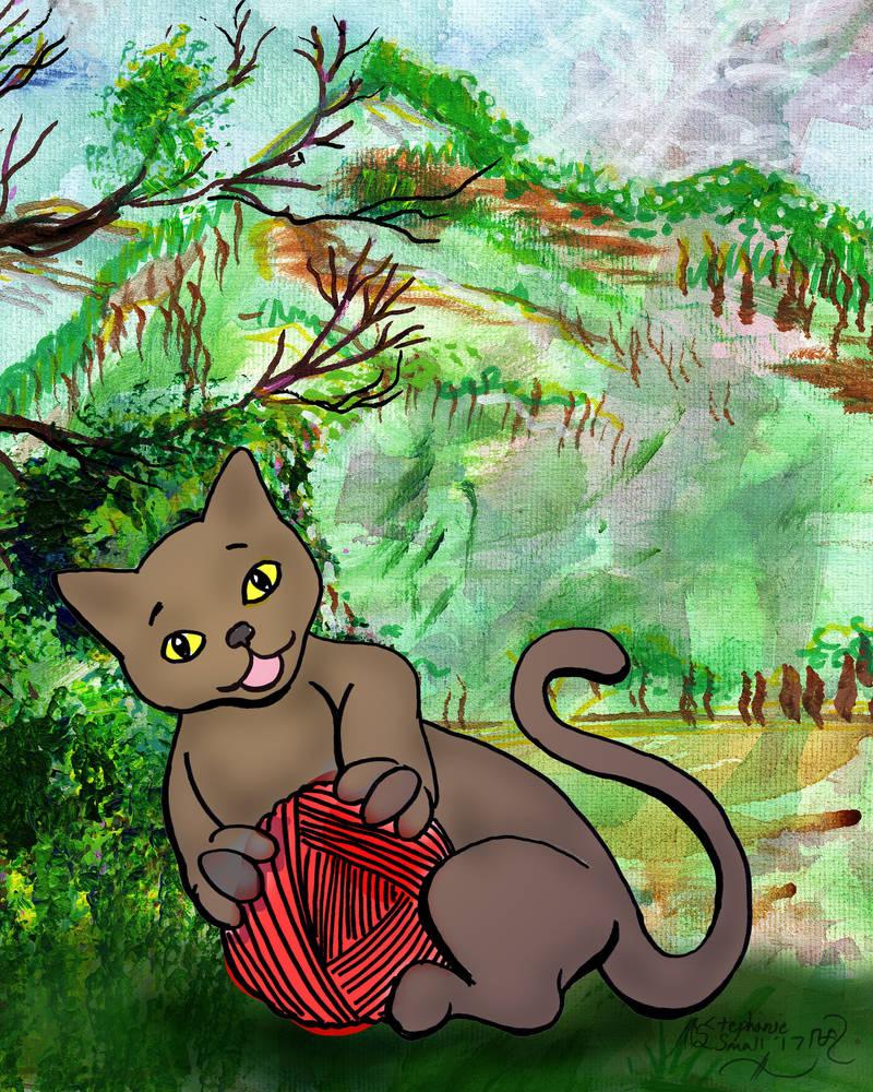 Kitty Kitten Cute Cat Feline Grey Yarn Green Woods by StephanieSmall