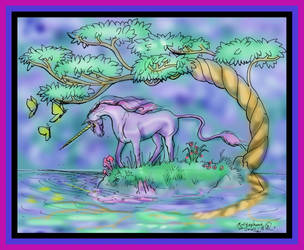 Unicorns Horse Pony tree butterfly Nature Equine by StephanieSmall