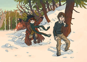 Arty and Suzy in Winter by theintrovert