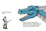 Dragon mocking Dragon slayer by jackalius