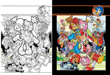 Sonic Super Digest #1 Frontispiece by jongraywb
