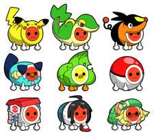 Taiko Drum Master Pokemon costumes by aquabluu