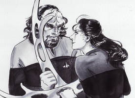 Inktober 14th: Jadzia Dax and Worf by Danikatze
