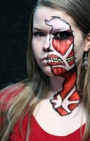 Half Face Titan Cosplay by larahawker