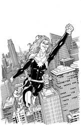 Captain Marvel Variant cover by MisterHardtimes