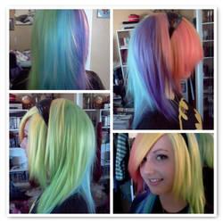 Custom dyed Rainbow Dash wig (Cosplay Preview) by xsakichanx