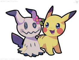 Mimi-Tan and Ash's Pikachu by sunfloweryielder
