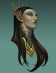 Elf Queen Portrait by graphitenightmare