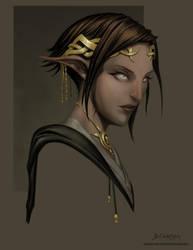 Elf Priestess by graphitenightmare