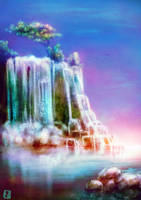 Waterfall - Landscape Sketch (with Video process) by DrawnM0nster