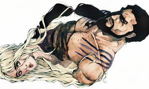 Khal Drogo and Khaleesi by XMenouX