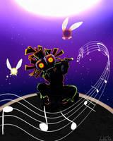 Moonlight Melody - Skull Kid by LeahFoxDen