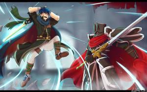 Ike VS Black Knight by LeahFoxDen