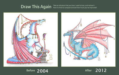 Jester dragon before and after by Scellanis