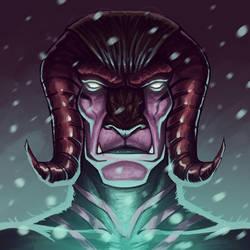 Bull demon (blue snow) by Entropician