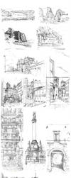 urban sketching pencil sketchbook by Entropician