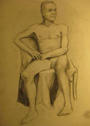 Male Nude Sitting by londerwost