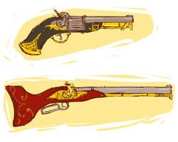 gun and rifle by dreamwatcher7