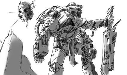 Quick Doodle: Techmarine by DesertFox85