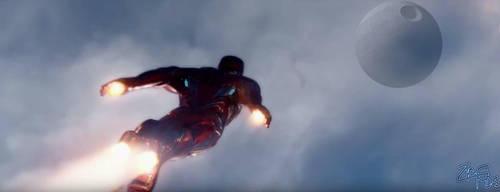 Iron Man Rushes toward the Death Star [Marvel x St by Jedimasterhulk