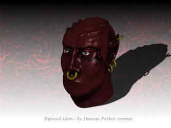 Tatooed alien head by ormus