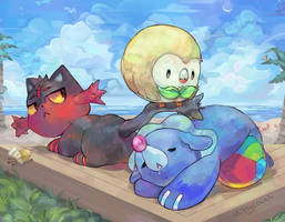 Pokemon Sun and Moon Starters by KittyCouch
