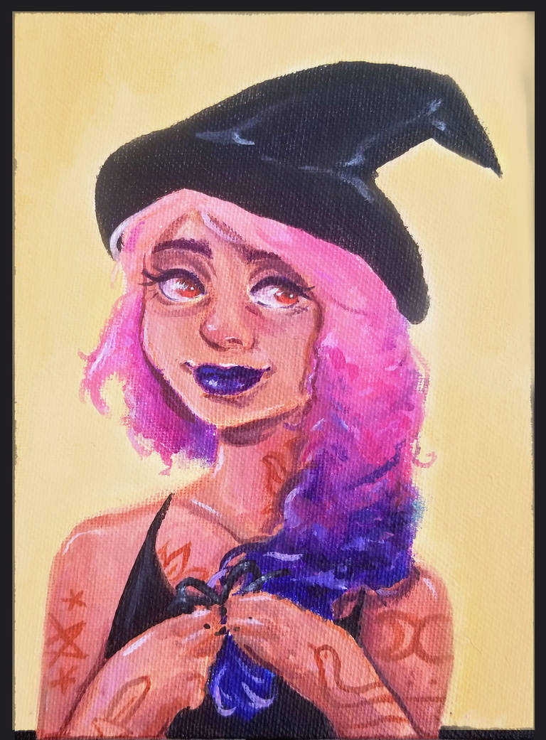 Braid Witch Acrylic Painting by Monique--Renee