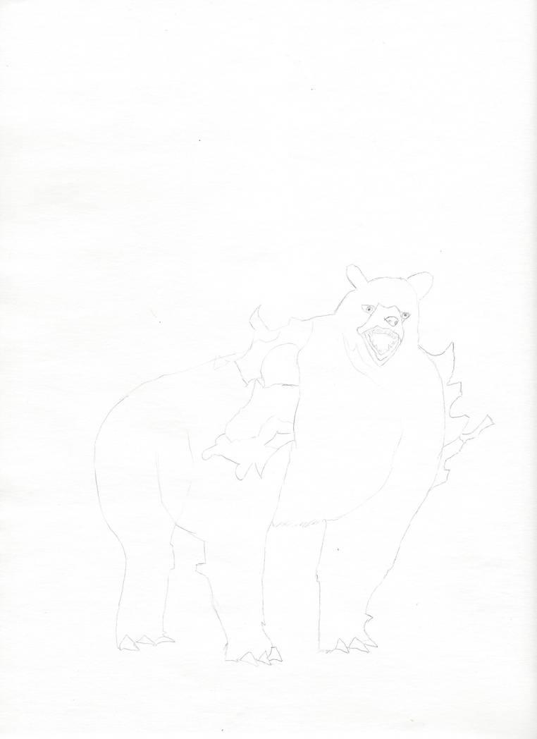 Dire Bear Lineart by jnekomimi