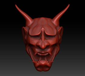 Hannya Mask in progress by Firebli9ht