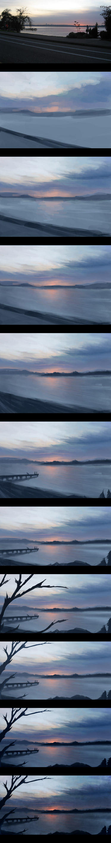 Dusk painting process by Firebli9ht