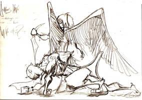 Angel slaying Demon by adiktofsugar