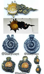 Assorted ammonite pendants by Helix-Wing