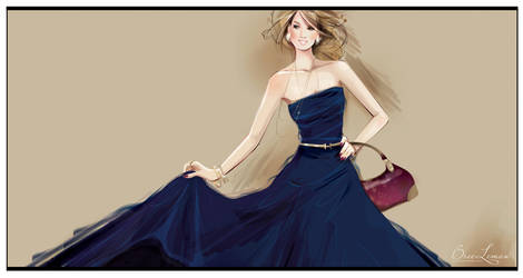 couture midnight blue gown by BreeLeman