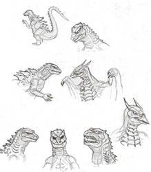 Godzilla2: Godzilla and Rodan sketches by CosbyDaf