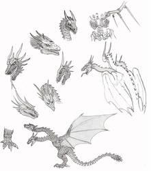 Godzilla2: King Ghidorah sketches by CosbyDaf
