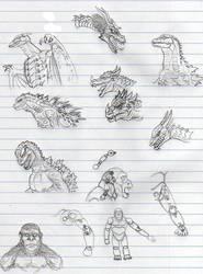 Godzilla and Kong SHMA sketches by CosbyDaf