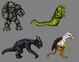 Golem,Wyrm,Gargoyle,Griffin Color Concepts by CosbyDaf