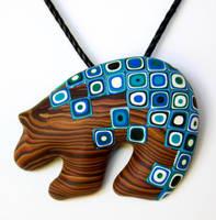 Wood Retro Blue Bear by FauxHead