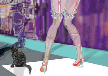 women in high heel shoes with cat by jackpoint23