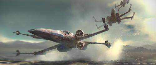 Star Wars X-Wings over water by ChrisRosewarne