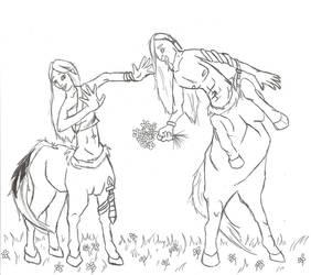 centaur courtship by louli9559