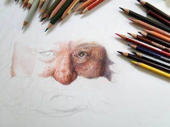 Color Pencil Drawing Bombur The Dwarf WIP by akdizzle