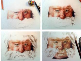 Color Pencil Drawing Bombur The Dwarf WIP 2 by akdizzle