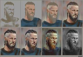 Progress of RAGNAR painting. by DanarArt