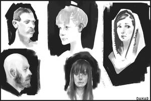 Face sketches 0 by DanarArt