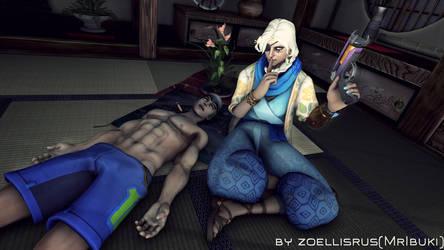 Sleep Tight!   Ana and Genji   Overwatch by zoellisrus